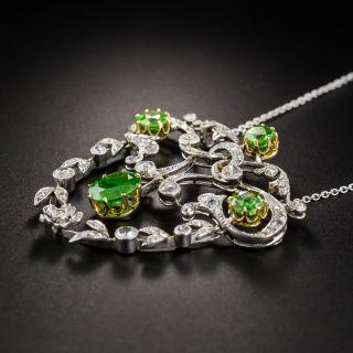 Edwardian Demantoid Garnet and Diamond Pendant