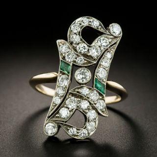 Edwardian Diamond and Calibre Emerald Dinner Ring - 2