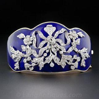 Edwardian Diamond and Cobalt Enamel Bangle Bracelet