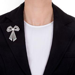 Edwardian Diamond and Emerald Bow Brooch