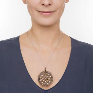 Edwardian Diamond and Natural Pearl Disc Pendant