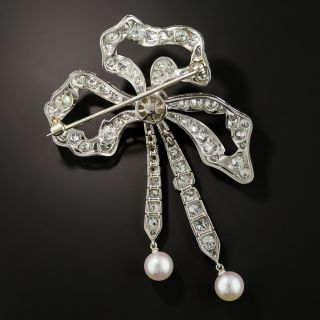 Edwardian Diamond and Pearl Bow Pendant Brooch