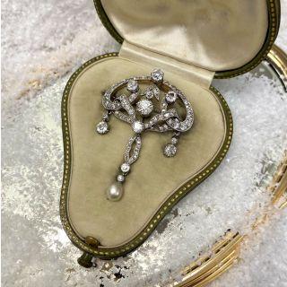 Edwardian Diamond and Pearl Drop Pendant/Pin