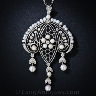 Edwardian Diamond and Pearl Necklace