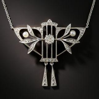 Edwardian Diamond and Pearl Pendant - 1