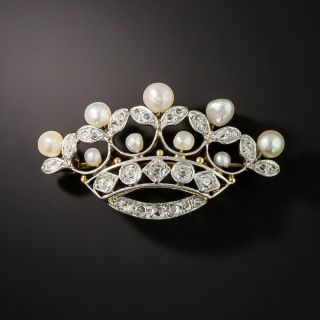 Edwardian Diamond and Pearl Tiara brooch by Kohn