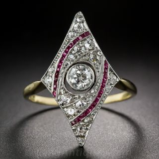 Edwardian Diamond and Ruby Dinner Ring - 1