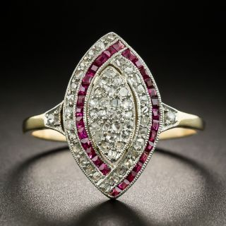 Edwardian Diamond and Ruby Dinner Ring - 2