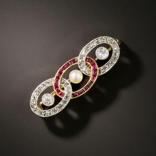 Edwardian Diamond and Ruby Interlocking Oval Brooch