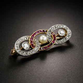Edwardian Diamond and Ruby Interlocking Oval Brooch - 4
