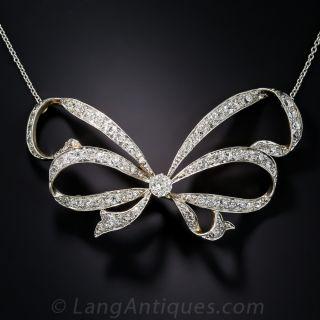 Edwardian Diamond Bow Necklace - 1