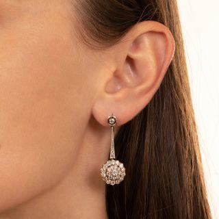 Edwardian Diamond Dangle Cluster Earrings