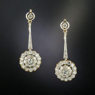 Edwardian Diamond Dangle Cluster Earringss - 2