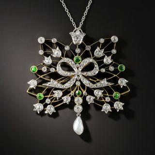 Edwardian Diamond, Demantoid Garnet and Pearl Pendant Necklace - 2