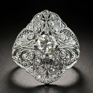 Edwardian Diamond Filigree Platinum Ring - 1