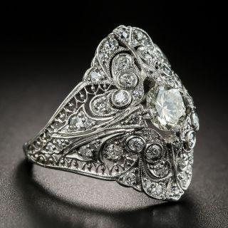 Edwardian Diamond Filigree Platinum Ring