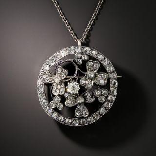 Edwardian Diamond Floral Brooch/Pendant, - 2