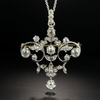 Edwardian Diamond Floral Pendant/Brooch - 2