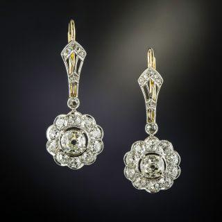 Edwardian Diamond Halo Drop Earrings - 1