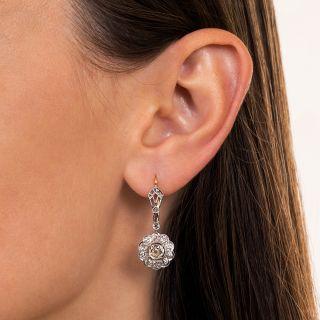 Edwardian Diamond Halo Drop Earrings