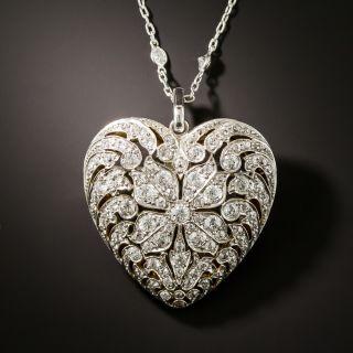 Edwardian Diamond Heart Pendant/Brooch on Diamond Chain - 4