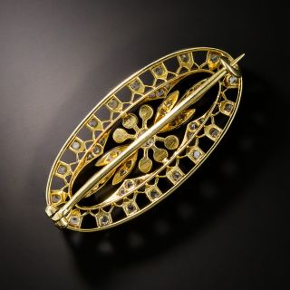 Edwardian Diamond & Natural Pearl Brooch