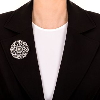 Edwardian Diamond Natural Pearl Circle Pendant Brooch