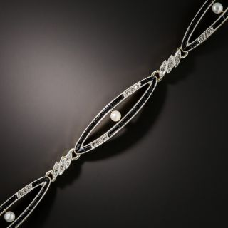 Edwardian Diamond, Onyx and Pearl Bracelet - 2