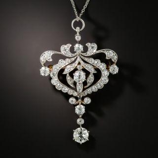Edwardian Diamond Pendant Brooch by Pickslay & Co - 2