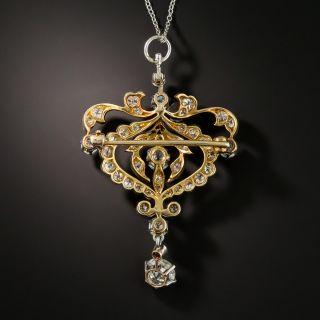Edwardian Diamond Pendant Brooch by Pickslay & Co