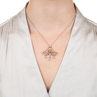 Edwardian Diamond Pendant Necklace