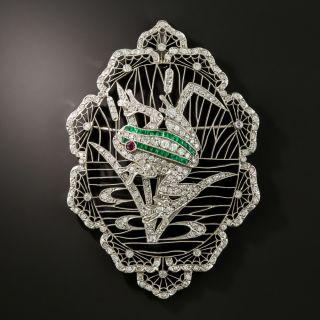 Edwardian Platinum Diamond Frog Brooch/Pendant - 2
