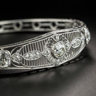 Edwardian Platinum Diamond Hinged Bangle Bracelet - 2