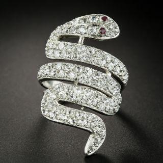 Edwardian Diamond Snake Ring - 2