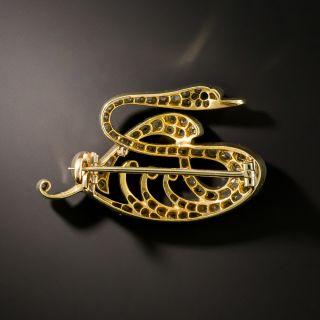 Edwardian Diamond Swan Pin, French