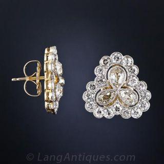 Edwardian Diamond Three Leaf Clover Earrings