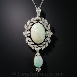 Edwardian Double Opal Platinum Diamond Pendant