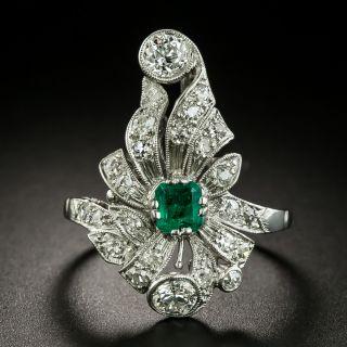Edwardian Emerald and Diamond Dinner Ring - 2