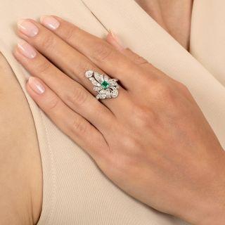 Edwardian Emerald and Diamond Dinner Ring
