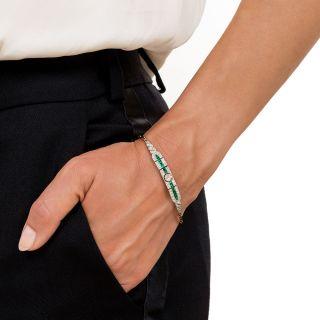 Edwardian Emerald and Diamond Link Bracelet