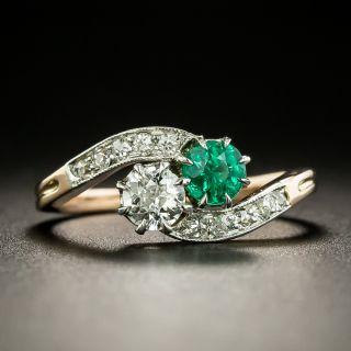 Edwardian Emerald and Diamond Toi et Moi Ring - 2