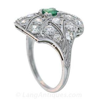 Edwardian Emerald Ring with Diamonds