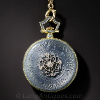 Edwardian Enamel and Diamond Pendant Watch and Chain