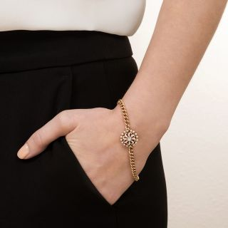 Edwardian Enamel, Pearl and Diamond Pinwheel Bracelet