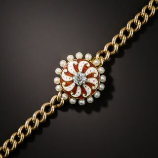 Edwardian Enamel, Pearl and Diamond Pinwheel Bracelet - 3