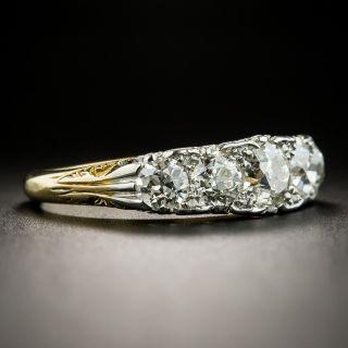 Edwardian Five-Stone Diamond Carved Ring - Size 8 1/4