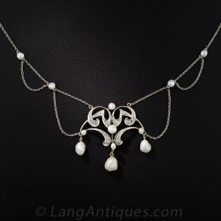Edwardian Freshwater Pearl and Diamond Necklace - 3