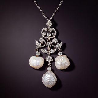 "Edwardian ""Girandole"" Freshwater Pearl and Diamond Lavalière  - 0"