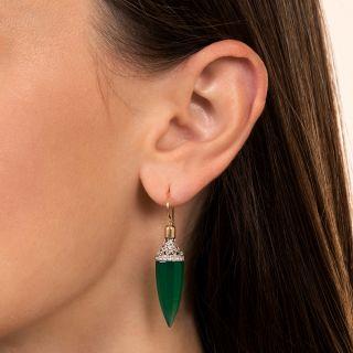 Art Deco Green Chalcedony and Diamond Drop Earrings