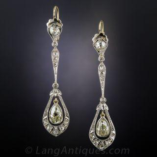 Edwardian Long  Diamond Drop Earrings